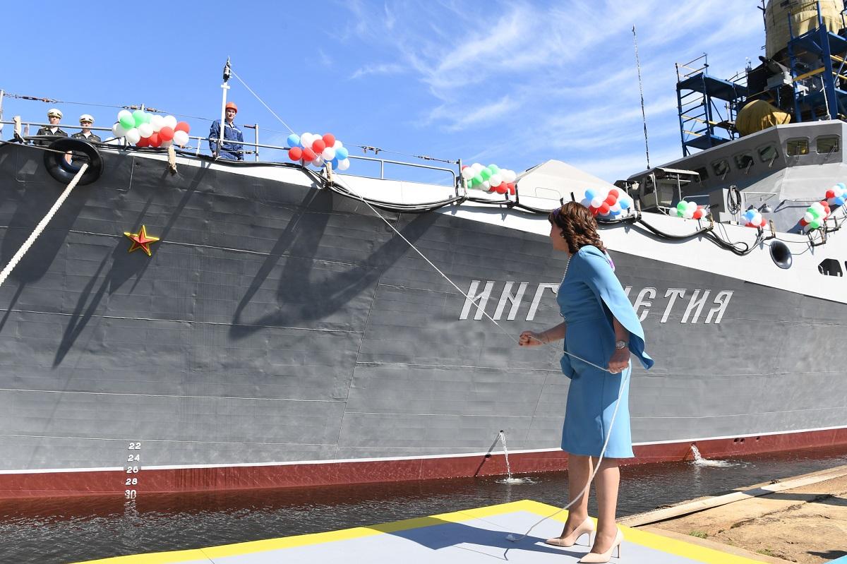 Корабль Ингушетия спустили на воду в Татарстане
