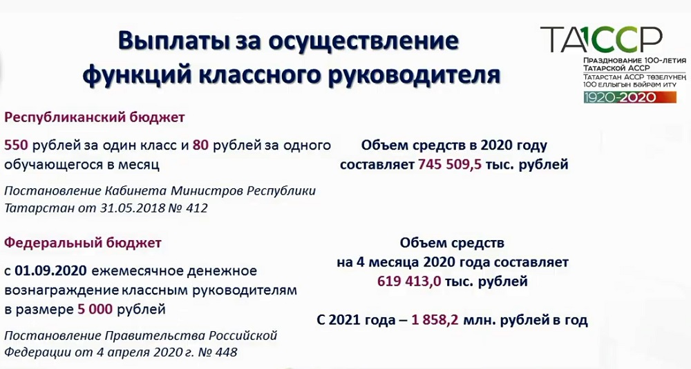 выплаты классным руководителям в Татарстане